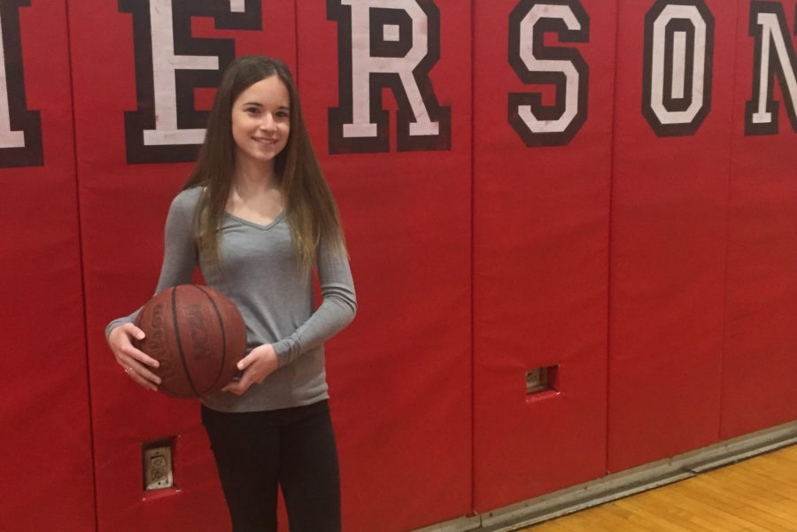 Emma+Worthington+is+thinking+about+playing+basketball+for+the+Lady+Cavos.+Worthington+plays+guard+for+her+current+team.
