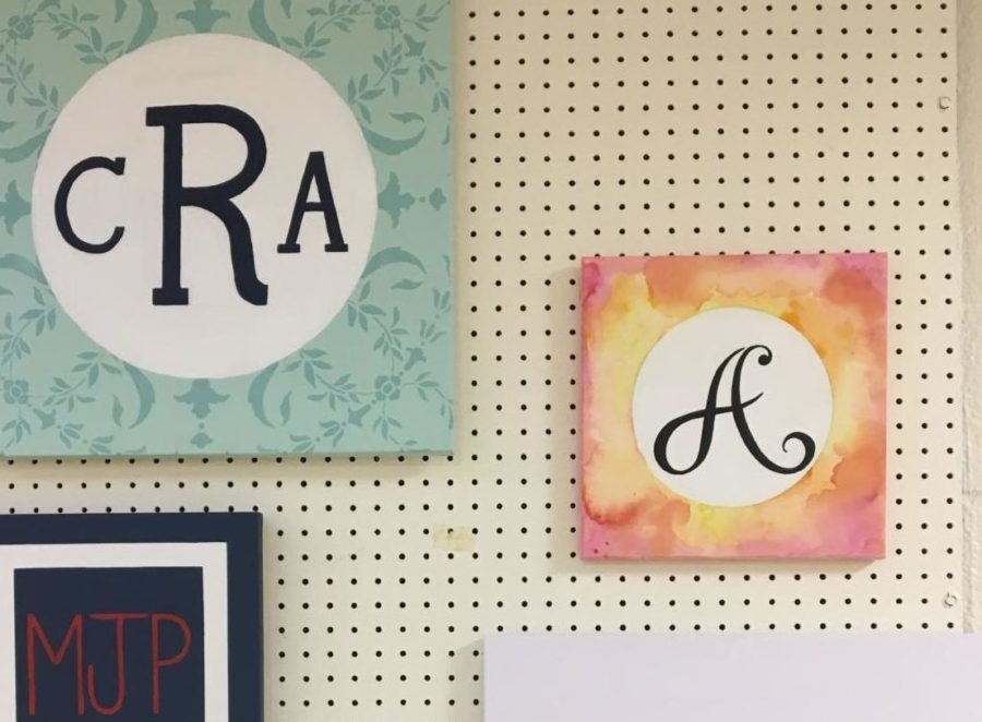 One+of+NAHS+current+projects+include+monogram+paintings+of+the+initials+of+a+student.