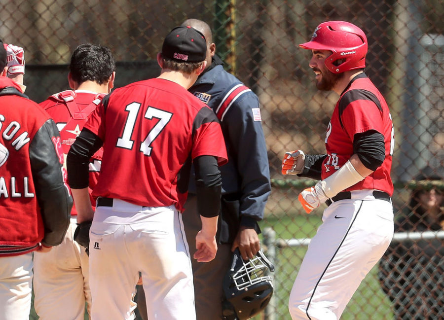 Joe+Carmosino+celebrates+after+hitting+a+homerun+against+Riverdell+in+2017.