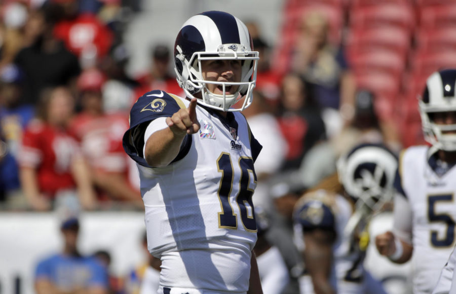 Los+Angeles+Rams+quarterback+Jared+Goff+warms+up+before+an+NFL+football+game+against+the+San+Francisco+49ers+Sunday%2C+Oct.+13%2C+2019%2C+in+Los+Angeles.+%28AP+Photo%2FAlex+Gallardo%29