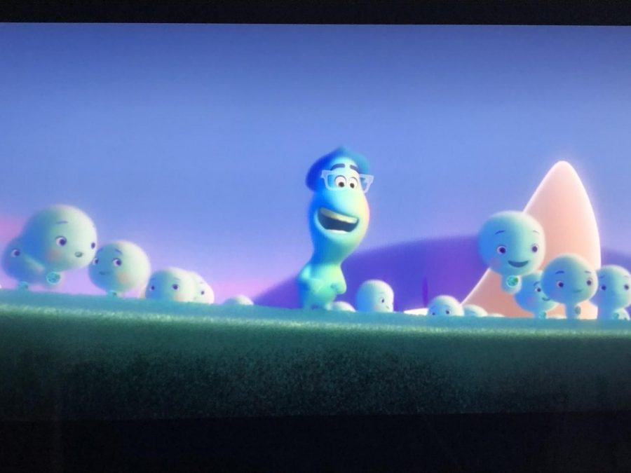 Joe Gardner as a soul, eagerly awaiting to get back to Earth from Pixar's 'Soul'.